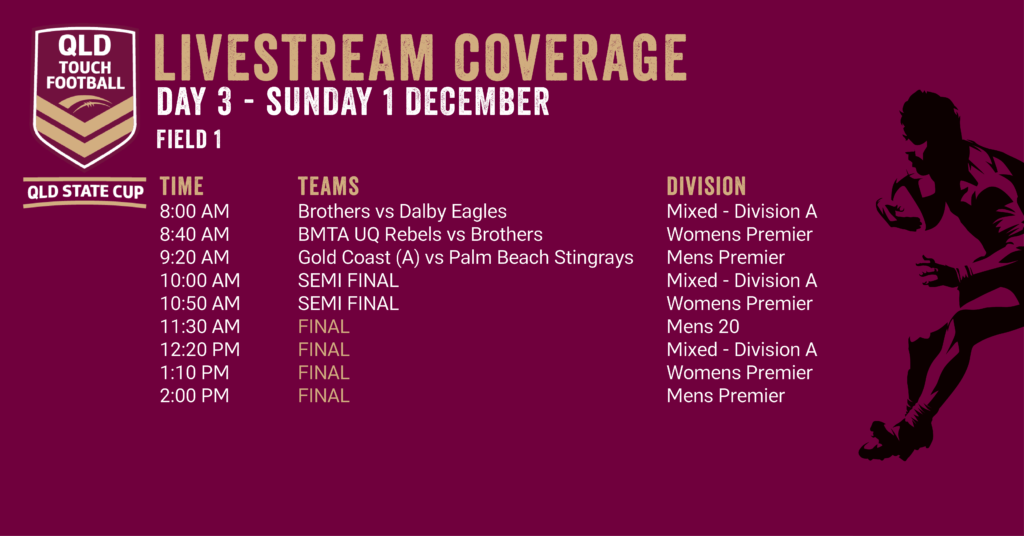 Day 3 - QLD State Cup Livestream Coverage